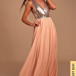 Elegant Encounter Rose Gold Sequin Maxi Dress